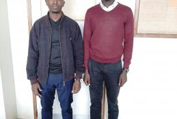 Alfred Muchangi (left) and Solomon Orwa who received UoN scholarships.